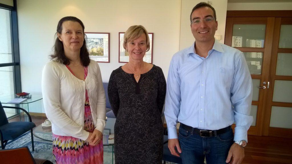 Dr. Kristiina Rämö, Dr. Roy Petel, and Ambassador Leena-Kaisa Mikkola at the Finnish Embassy in Tel Aviv.